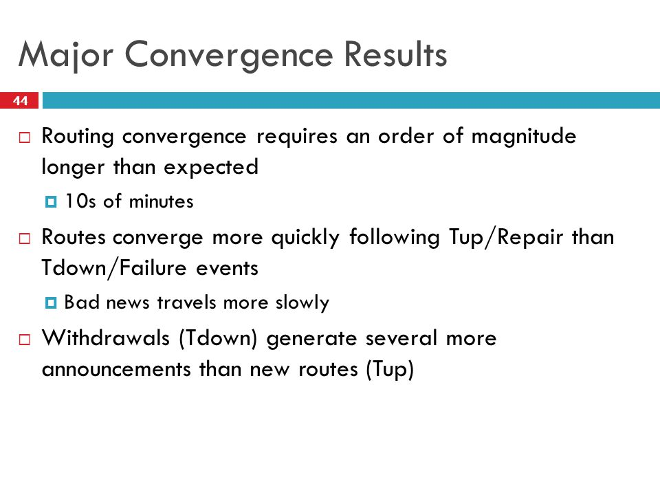 Major Convergence Results  Routing convergence requires an order of magnitude longer than expected  10s of minutes  Routes converge more quickly fo
