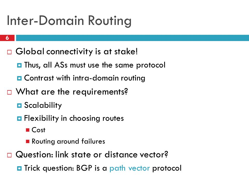 Inter-Domain Routing 6  Global connectivity is at stake.