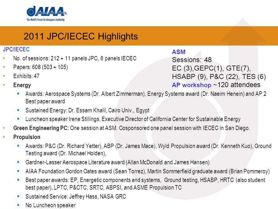 2011 JPC/IECEC Highlights JPC/IECEC No. of sessions: 212 + 11 panels JPC, 6 panels IECEC Papers: 608 (503 + 105) Exhibits: 47 Energy  Awards: Aerospa