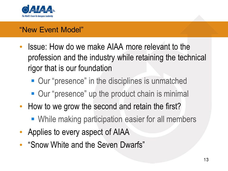 New Event Model Issue: How do we make AIAA more relevant to the profession and the industry while retaining the technical rigor that is our foundation  Our presence in the disciplines is unmatched  Our presence up the product chain is minimal How to we grow the second and retain the first.