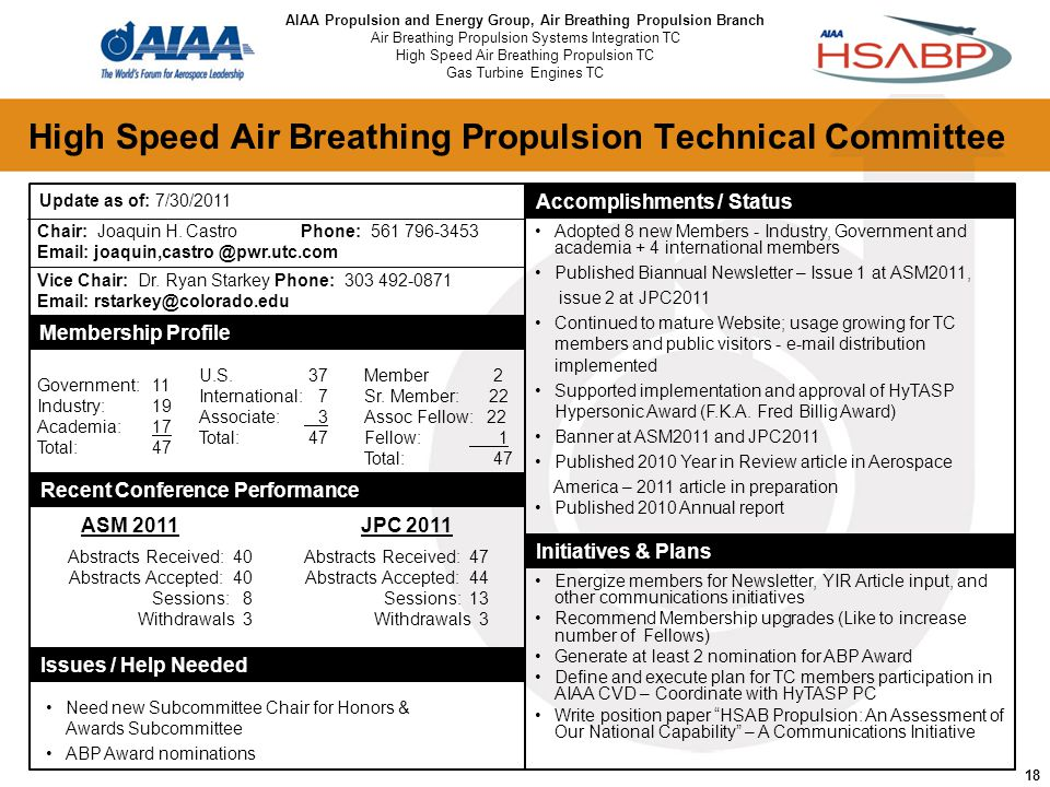 18 High Speed Air Breathing Propulsion Technical Committee Chair: Joaquin H.