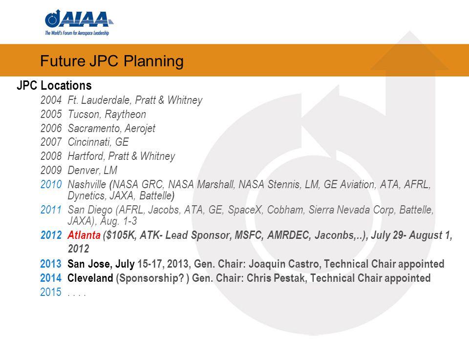 Future JPC Planning JPC Locations 2004Ft. Lauderdale, Pratt & Whitney 2005Tucson, Raytheon 2006Sacramento, Aerojet 2007Cincinnati, GE 2008Hartford, Pr