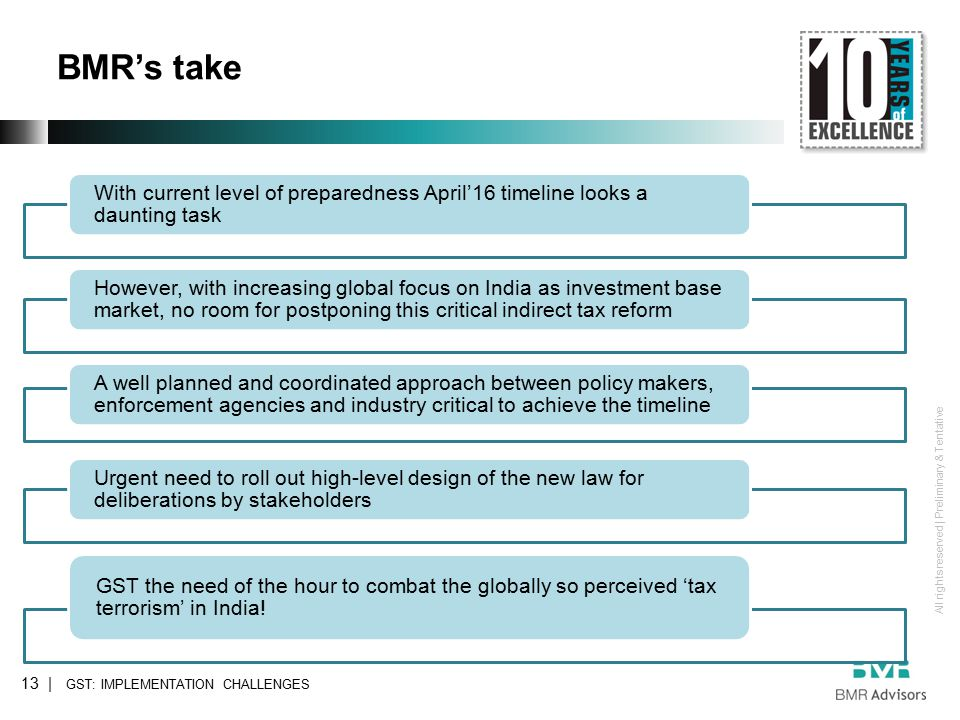 All rights reserved | Preliminary & Tentative BMR's take 13 | With current level of preparedness April'16 timeline looks a daunting task However, with increasing global focus on India as investment base market, no room for postponing this critical indirect tax reform A well planned and coordinated approach between policy makers, enforcement agencies and industry critical to achieve the timeline Urgent need to roll out high-level design of the new law for deliberations by stakeholders GST the need of the hour to combat the globally so perceived 'tax terrorism' in India.
