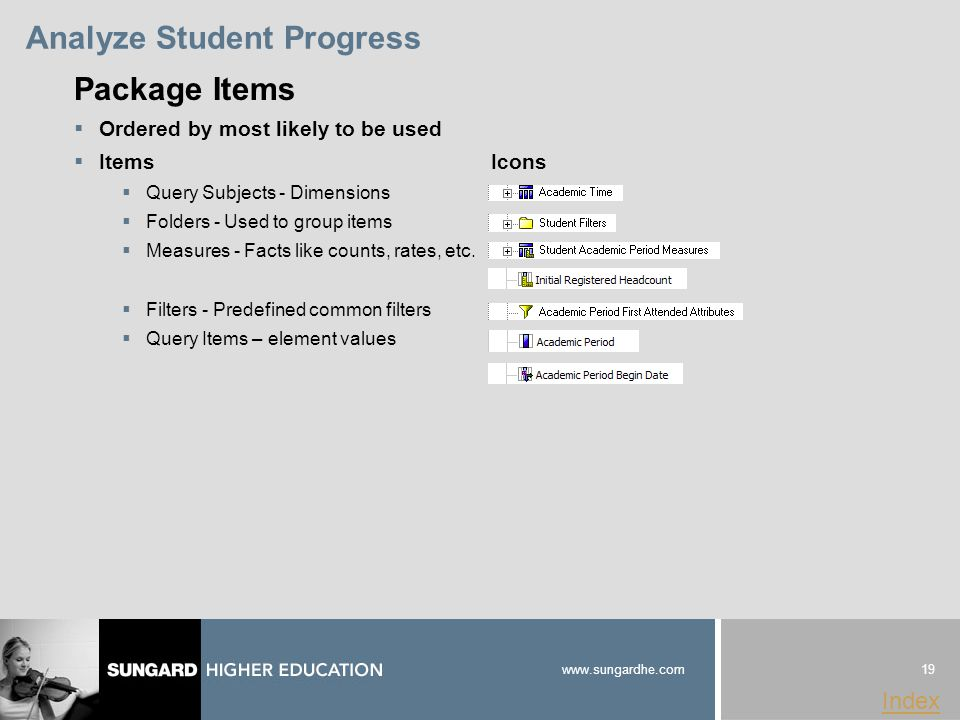 19 www.sungardhe.com Index Analyze Student Progress Package Items  Ordered by most likely to be used  Items Icons  Query Subjects - Dimensions  Folders - Used to group items  Measures - Facts like counts, rates, etc.