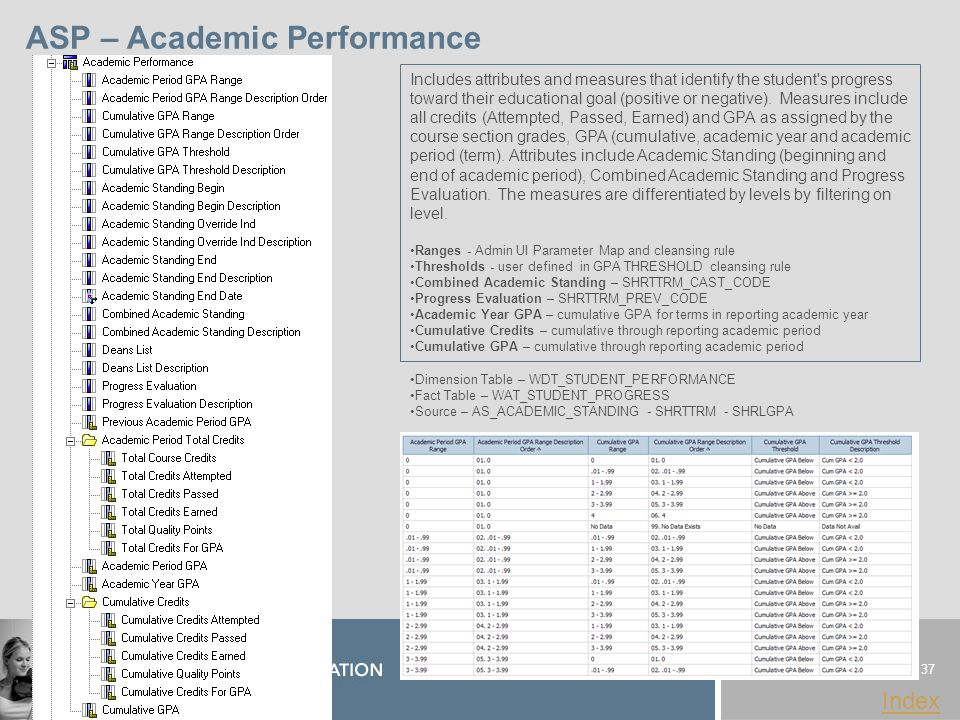 37 www.sungardhe.com Index ASP – Academic Performance Dimension Table – WDT_STUDENT_PERFORMANCE Fact Table – WAT_STUDENT_PROGRESS Source – AS_ACADEMIC_STANDING - SHRTTRM - SHRLGPA Includes attributes and measures that identify the student s progress toward their educational goal (positive or negative).