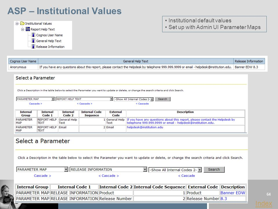 64 www.sungardhe.com Index ASP – Institutional Values Institutional default values Set up with Admin UI Parameter Maps