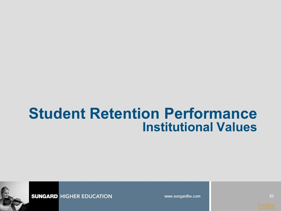 65 www.sungardhe.com Index Student Retention Performance Institutional Values