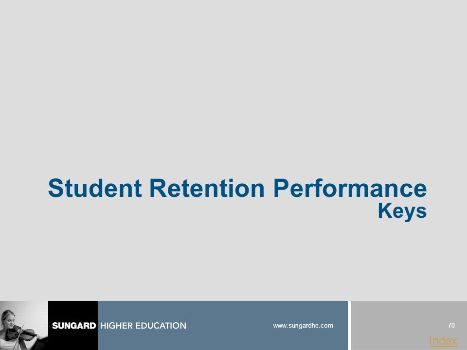 70 www.sungardhe.com Index Student Retention Performance Keys