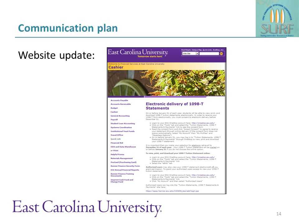 Communication plan Student portal announcement: 15