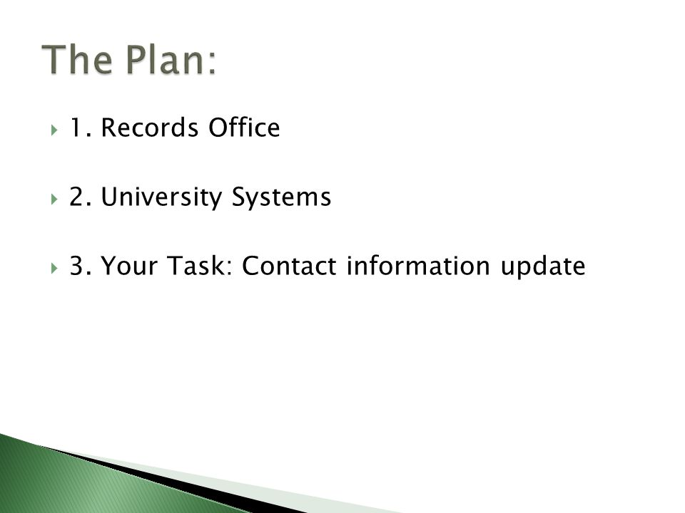  1. Records Office  2. University Systems  3. Your Task: Contact information update