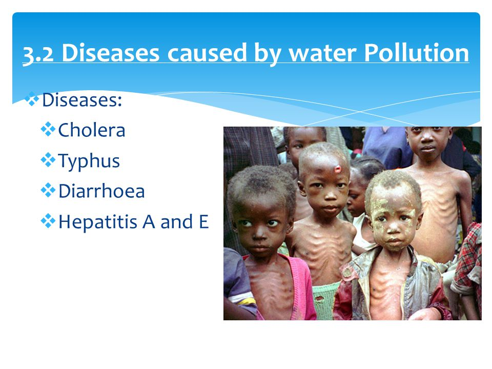  Diseases:  Cholera  Typhus  Diarrhoea  Hepatitis A and E 3.2 Diseases caused by water Pollution