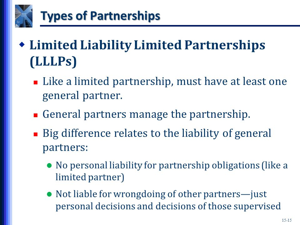 15-15 Types of Partnerships  Limited Liability Limited Partnerships (LLLPs) Like a limited partnership, must have at least one general partner.