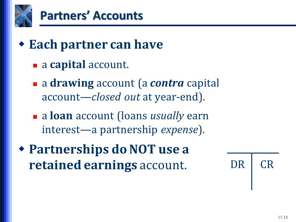 15-18 Partners' Accounts  Each partner can have a capital account.