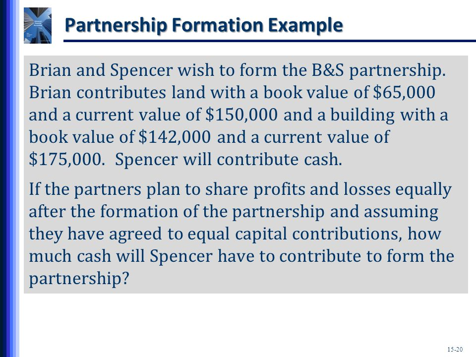15-20 Partnership Formation Example Brian and Spencer wish to form the B&S partnership.