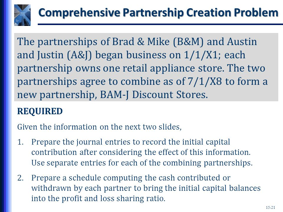 15-21 Comprehensive Partnership Creation Problem The partnerships of Brad & Mike (B&M) and Austin and Justin (A&J) began business on 1/1/X1; each partnership owns one retail appliance store.