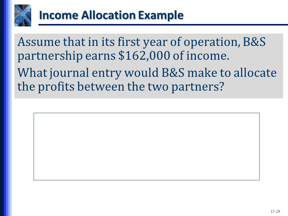 15-29 Income Allocation Example Assume that in its first year of operation, B&S partnership earns $162,000 of income.