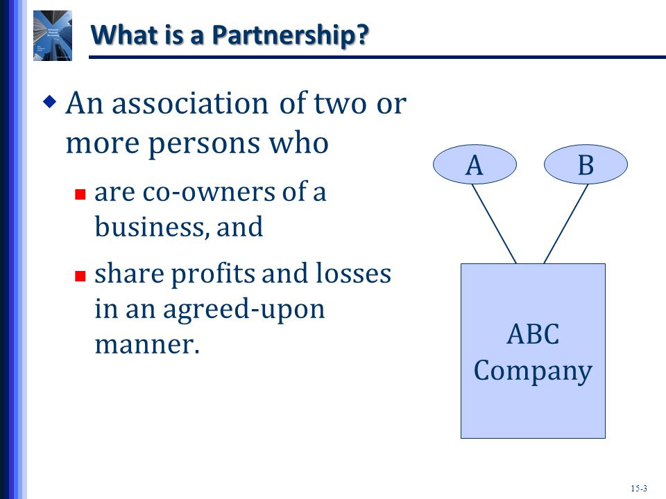 15-14 Types of Partnerships  Limited Liability Partnerships (LLPs) A partner's personal assets are at risk only for his or her own negligence and wrongdoing, the negligence and wrongdoing of those under his or her control, but not debts.