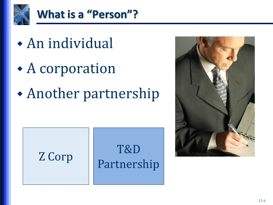 15-15 Types of Partnerships  Limited Liability Limited Partnerships (LLLPs) Like a limited partnership, must have at least one general partner.