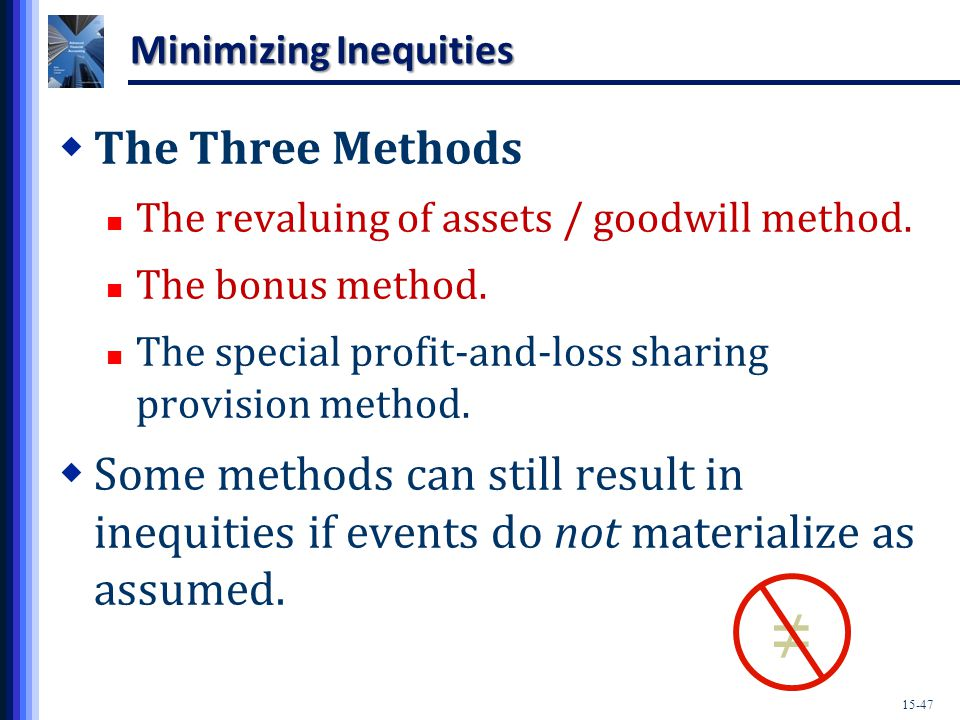 15-47 Minimizing Inequities  The Three Methods The revaluing of assets / goodwill method.