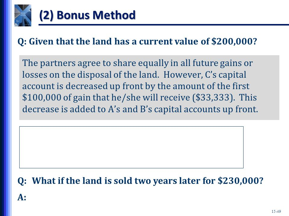 15-49 Q: Given that the land has a current value of $200,000.