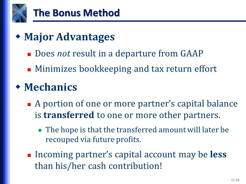 15-59 The Bonus Method  Major Advantages Does not result in a departure from GAAP Minimizes bookkeeping and tax return effort  Mechanics A portion of one or more partner's capital balance is transferred to one or more other partners.