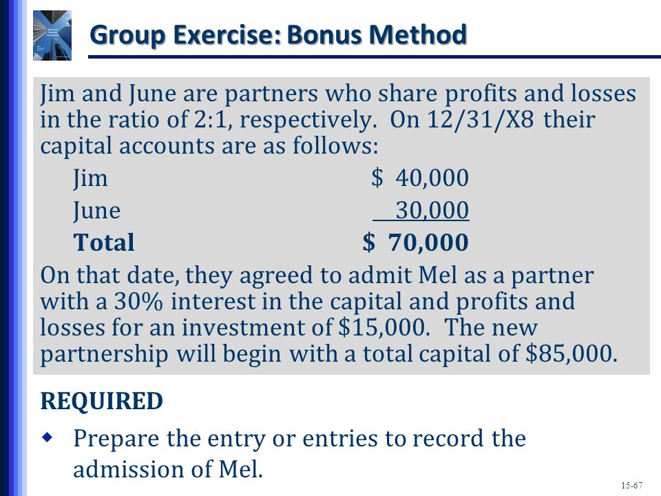 15-67 Group Exercise: Bonus Method Jim and June are partners who share profits and losses in the ratio of 2:1, respectively.