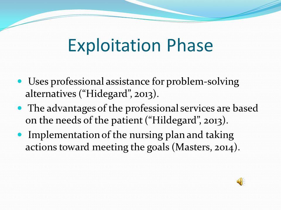 Exploitation Phase Uses professional assistance for problem-solving alternatives ( Hidegard , 2013).