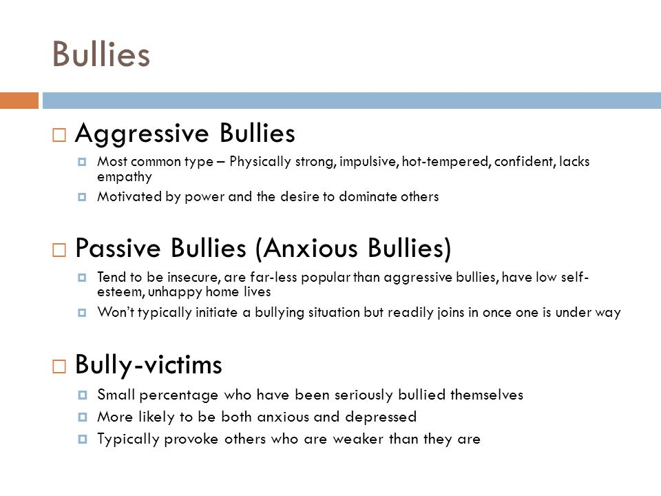 The Dynamics of Bullying BULLYBYSTANDERVICTIM