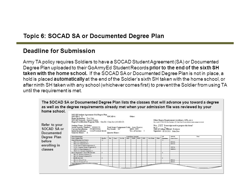 114 Topic 6: SOCAD SA or Documented Degree Plan Deadline for Submission Army TA policy requires Soldiers to have a SOCAD Student Agreement (SA) or Doc