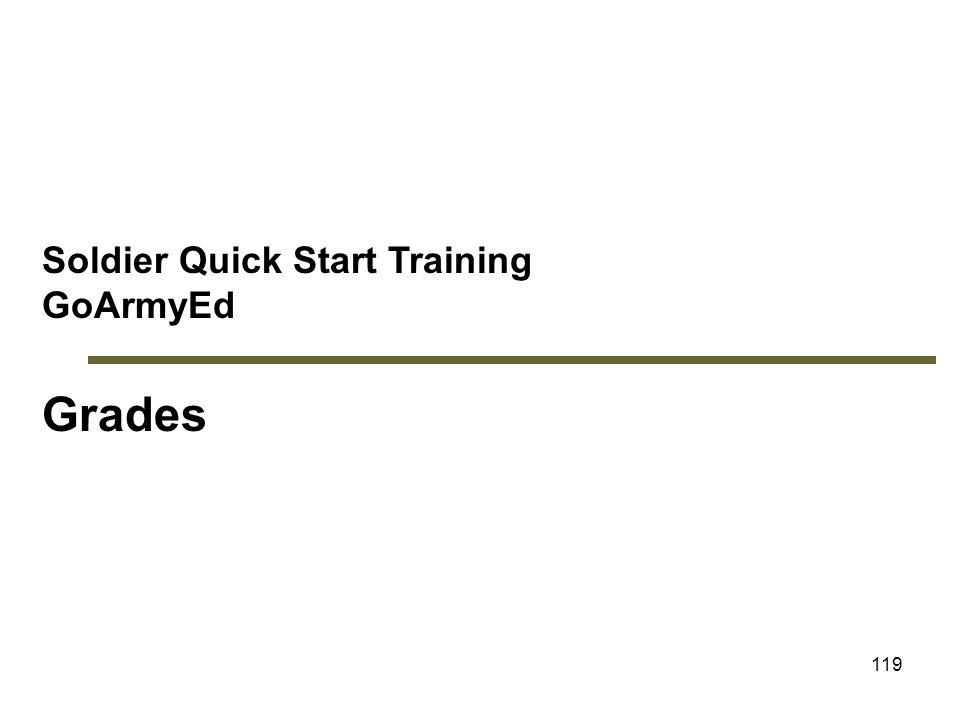 119 Soldier Quick Start Training GoArmyEd Grades Module 5: Grades
