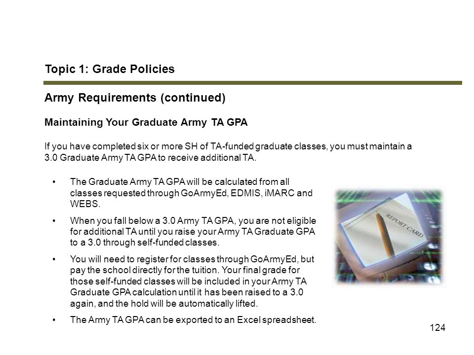 124 Topic 1: Grade Policies Army Requirements (continued) Maintaining Your Graduate Army TA GPA If you have completed six or more SH of TA-funded grad