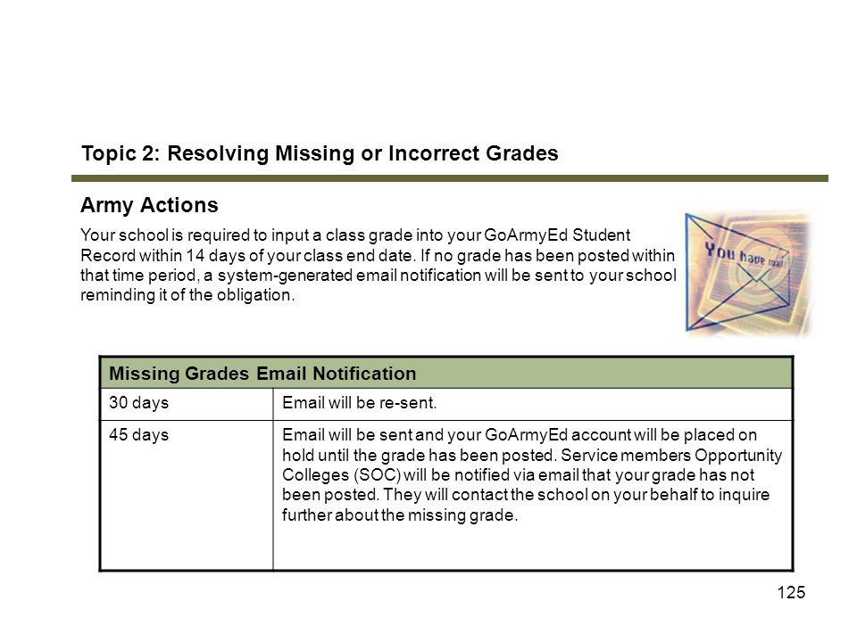 125 Topic 2: Resolving Missing or Incorrect Grades Army Actions Your school is required to input a class grade into your GoArmyEd Student Record withi