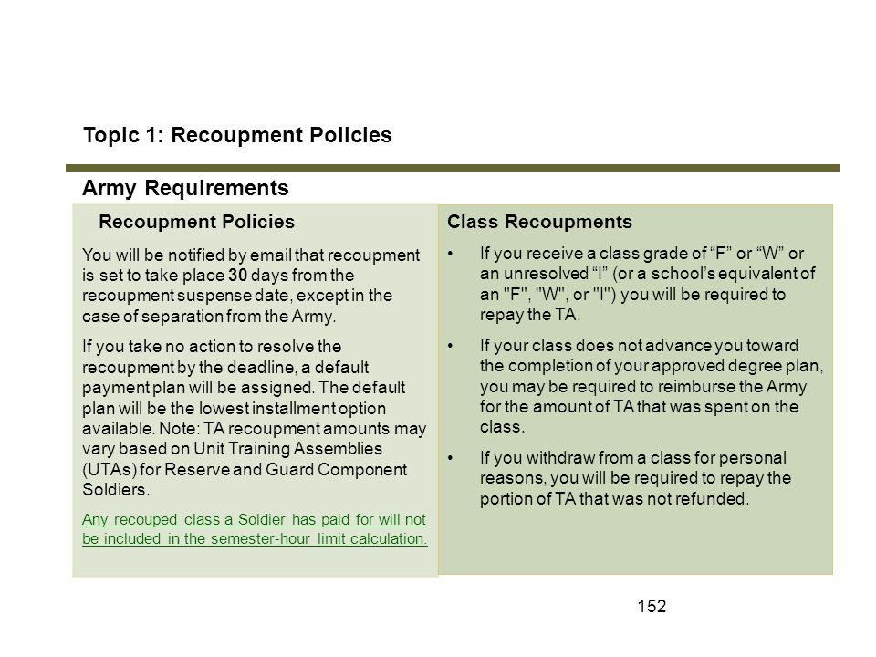 152 Topic 1: Recoupment Policies Army Requirements Module 7: Recoupments Recoupment Policies You will be notified by email that recoupment is set to t