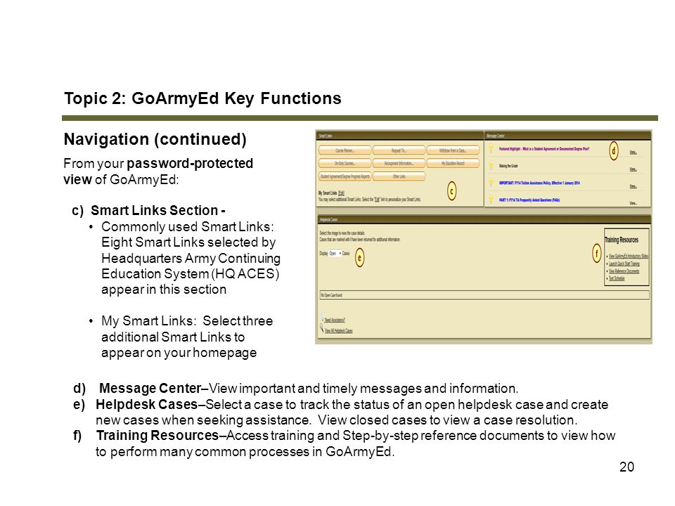 20 Topic 2: GoArmyEd Key Functions Navigation (continued) From your password-protected view of GoArmyEd: c) Smart Links Section - Commonly used Smart