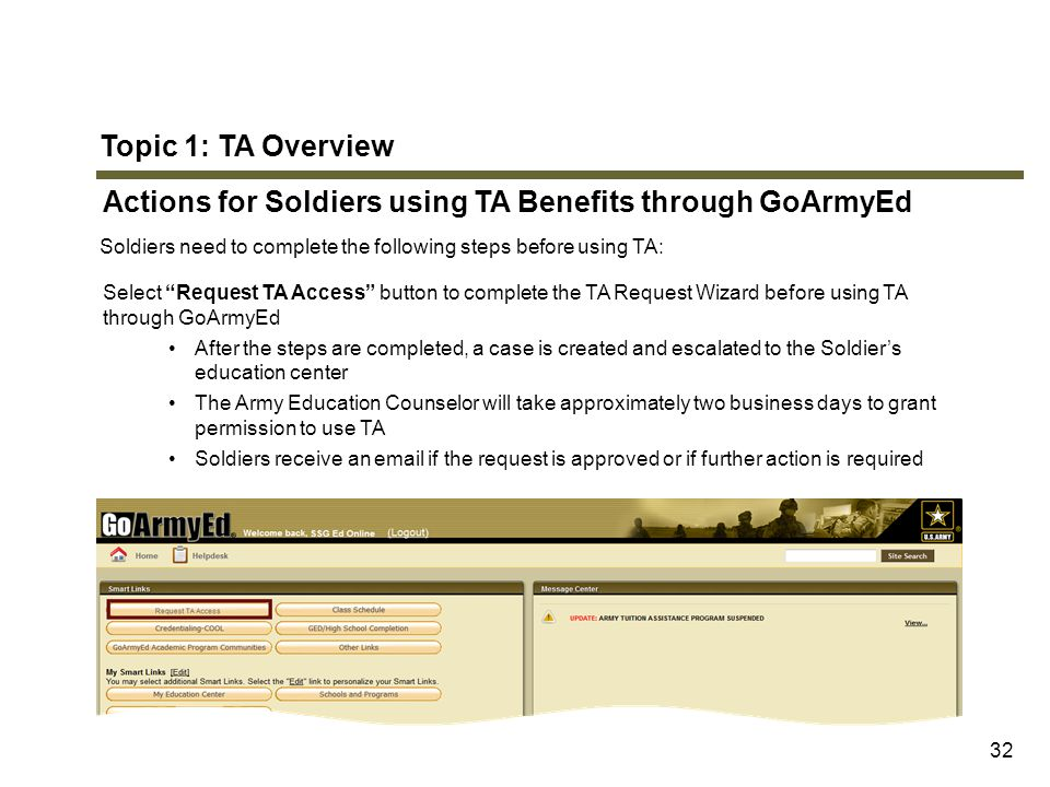 "Topic 1: TA Overview Actions for Soldiers using TA Benefits through GoArmyEd Soldiers need to complete the following steps before using TA: Select ""Re"