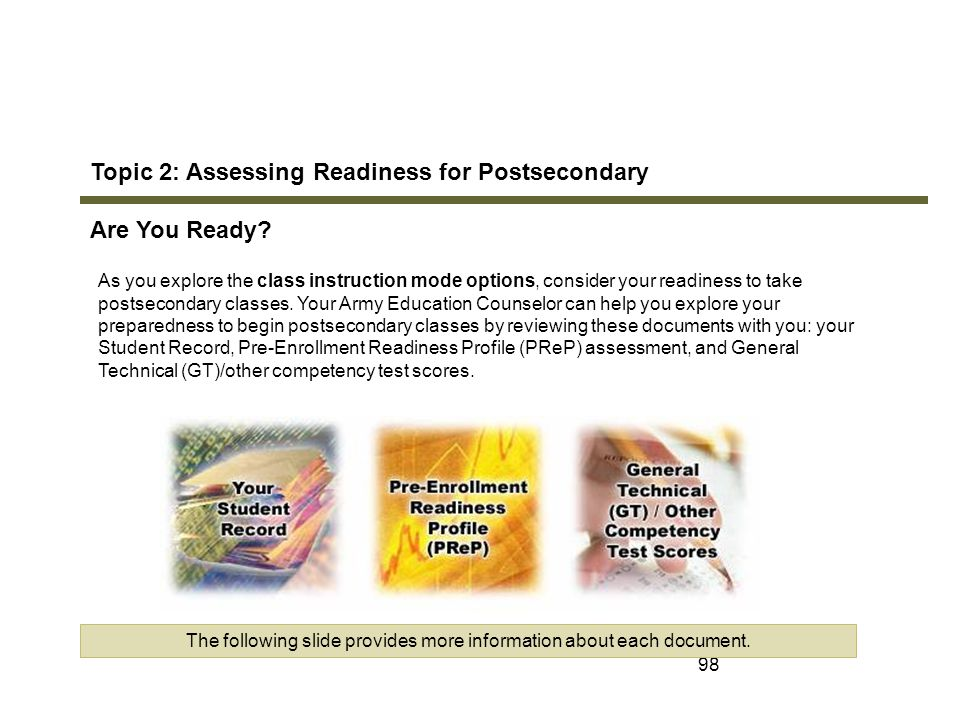 98 Topic 2: Assessing Readiness for Postsecondary Are You Ready? As you explore the class instruction mode options, consider your readiness to take po
