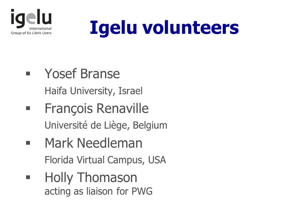 Igelu volunteers  Yosef Branse Haifa University, Israel  François Renaville Université de Liège, Belgium  Mark Needleman Florida Virtual Campus, USA  Holly Thomason acting as liaison for PWG