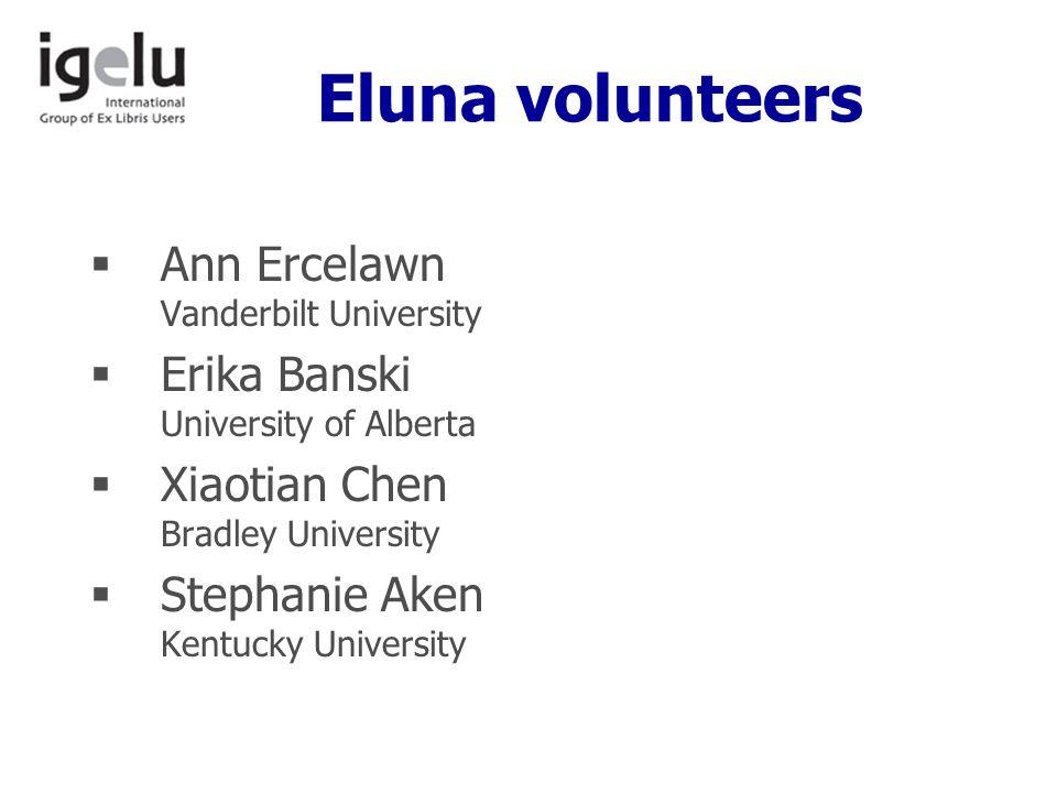 Eluna volunteers  Ann Ercelawn Vanderbilt University  Erika Banski University of Alberta  Xiaotian Chen Bradley University  Stephanie Aken Kentucky University