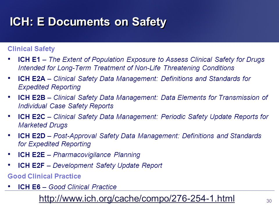 ICH: E Documents on Safety Clinical Safety ICH E1 – The Extent of Population Exposure to Assess Clinical Safety for Drugs Intended for Long-Term Treat