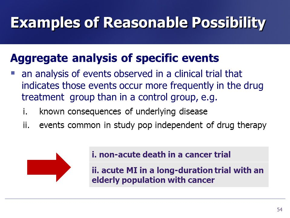 Examples of Reasonable Possibility Aggregate analysis of specific events  an analysis of events observed in a clinical trial that indicates those eve