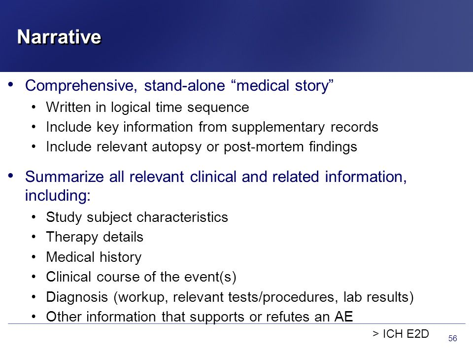 "Comprehensive, stand-alone ""medical story"" Written in logical time sequence Include key information from supplementary records Include relevant autops"