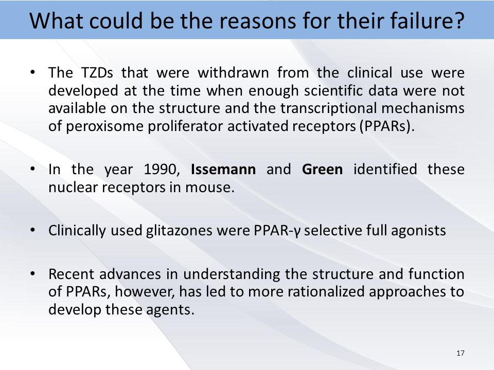 The TZDs that were withdrawn from the clinical use were developed at the time when enough scientific data were not available on the structure and the transcriptional mechanisms of peroxisome proliferator activated receptors (PPARs).