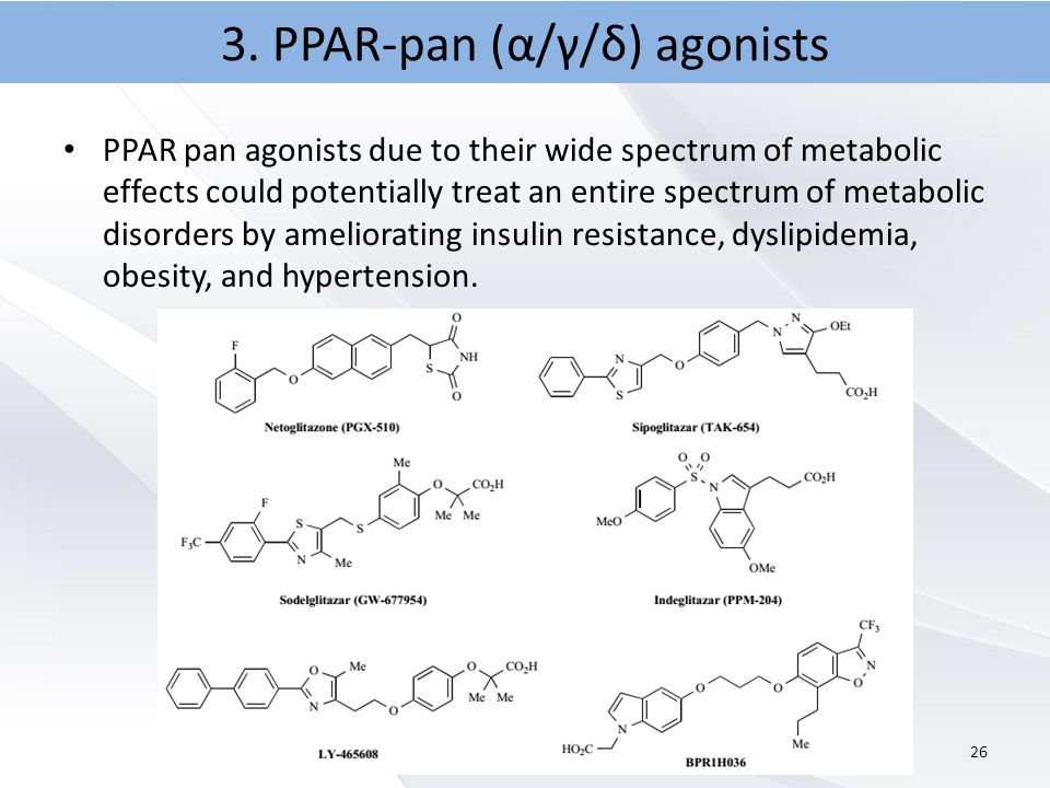 PPAR pan agonists due to their wide spectrum of metabolic effects could potentially treat an entire spectrum of metabolic disorders by ameliorating insulin resistance, dyslipidemia, obesity, and hypertension.