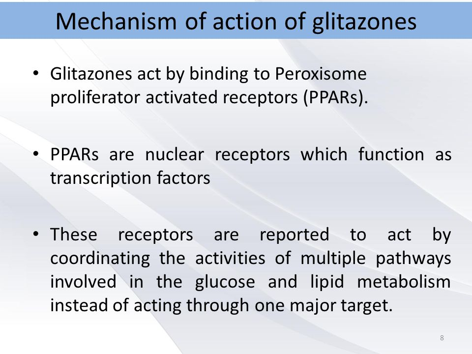 Mechanism of action of glitazones Glitazones act by binding to Peroxisome proliferator activated receptors (PPARs).