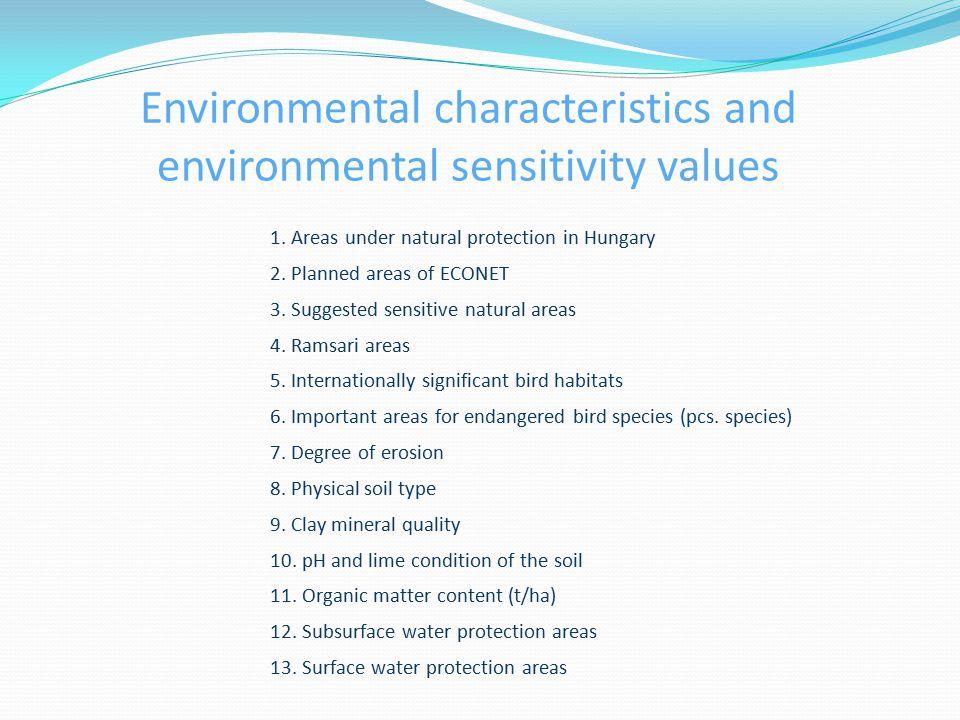 Environmental characteristics and environmental sensitivity values 1.