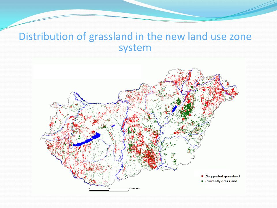 Distribution of grassland in the new land use zone system