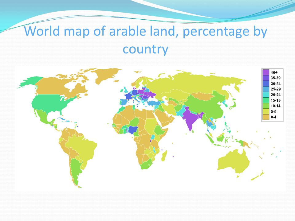 World map of arable land, percentage by country