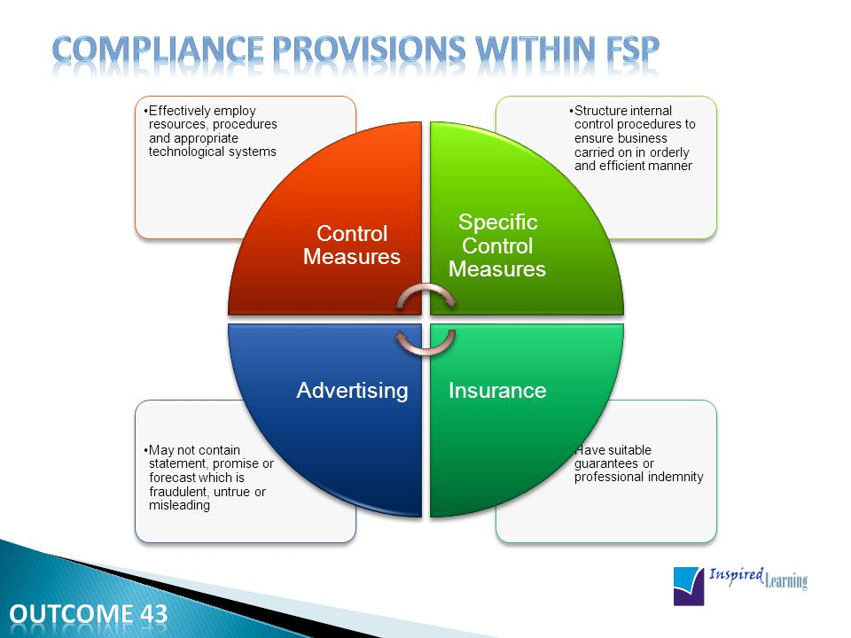 No one can act as rep unless He has employment or mandate agreement with FSP Authorized FSP with more than one KI or Rep, subject to 35 (1) (c), must appoint Compliance Officer CO is any person with suitable qualifications and experience determined by Registrar Provisions of Section 19 regarding auditor apply with changes to CO