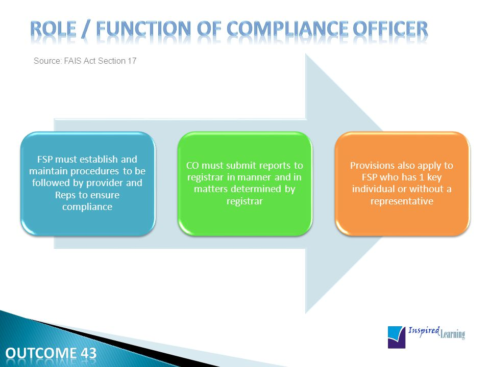 The CO is required to supervise the compliance function.