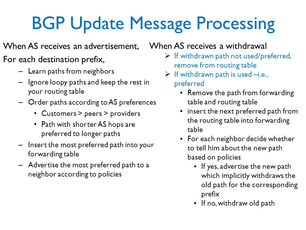 BGP Update Message Processing When AS receives an advertisement, For each destination prefix, – Learn paths from neighbors – Ignore loopy paths and keep the rest in your routing table – Order paths according to AS preferences Customers > peers > providers Path with shorter AS hops are preferred to longer paths – Insert the most preferred path into your forwarding table – Advertise the most preferred path to a neighbor according to policies When AS receives a withdrawal  If withdrawn path not used/preferred, remove from routing table  If withdrawn path is used –i.e., preferred Remove the path from forwarding table and routing table insert the next preferred path from the routing table into forwarding table For each neighbor decide whether to tell him about the new path based on policies If yes, advertise the new path which implicitly withdraws the old path for the corresponding prefix If no, withdraw old path
